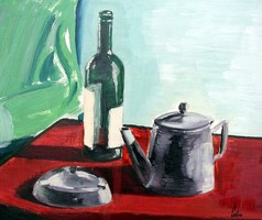 Still Life with Ashtray and Teapot - oil painting