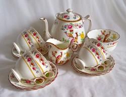 Különleges angol fajansz teás-készlet 6 személyes
