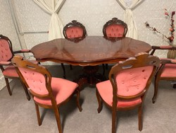 Neobarokk étkező 6 db pompás székkel