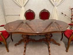 Antik Neobarokk étkező 6 db pompás székkel