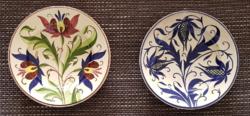 Virágmintás kerámia tányér - Párkány