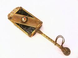 Antik fésű kézzel festett jelenetes miniatürrel