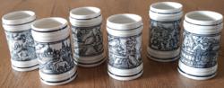 6 db Hollóházi porcelán kis méretű sörös kupa