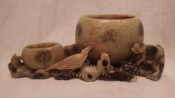 Zsírkő faragás állat figurákkal