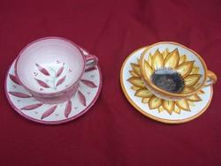 Goszthony Mária: Kávéscsésze rózsaszínleveles + alj rózsaszín leveles