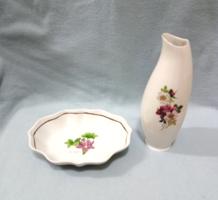 Hollóházi váza és kínáló tálka