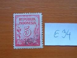 INDONÉZIA 5 SEN 1951 számjegyek E34  #