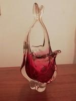 Gyönyörű retro cseh üveg váza