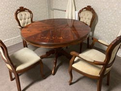 Neobarokk kerek étkezőasztal 4 db székkel