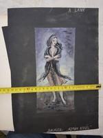 Makai Péter (1932-1991) akvarell, méret jelezve, szignós