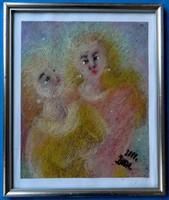 """Bada Márta (1951- ) - """"Ég angyalai"""" (olajpasztell, 2011.)"""