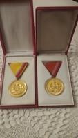 2 db Szocialista kitüntetés Honvédelmi érdemérem arany fokozat 10 és 15
