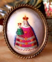 Madonna a kis Királlyal festett miniatűr porcelán asztali kép
