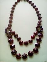Biborvörös antik cseh csiszolt üveg nyakkék