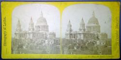 Sztereofotó londoni város részletről: Szent Pál-székesegyház