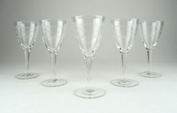 0E378 Maratott üveg talpas pohár készlet 5 db