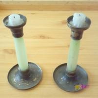 Gyertyatartópár, üveg testű biedermeier stílusban, retro hangulatvilágításhoz, hibátlan állapotban.