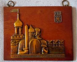 Emlék plakett Tatár Arany Horda 1382-ben felgyújtotta és elfoglalta Moszkvát