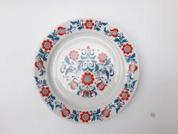 Alföldi retro porcelán madaras népies falitányér Bella stílusban kék piros design falidísz