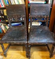 Ónémet bőrözött antik szék (párban; 2db)