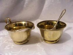 Antik, ezüstözött alpakka, kávés vagy teás kiegészítő szervírozó készlet cukorkanállal
