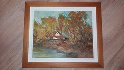Tájkép festmény 58x48,5cm, ismeretlen festő