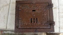 Öntött vas antik kályha ajtó, kandalló ajtó eladó! Salgótarján
