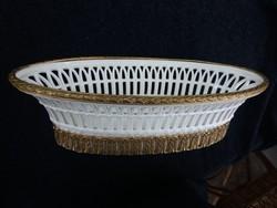 19. századi áttört porcelán kosár, kínáló tál