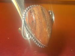 Tekintélyes Tigrisszem köves 925 ezüst Gyűrű 19 -es