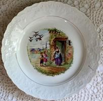 """St. Amand francia fajansz tányér """"Április"""", jelenetes"""
