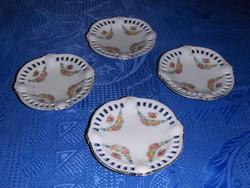 Antik áttört szélű porcelán pici tányér készlet 8,5 cm (22/d)