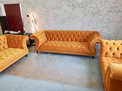 Új Chesterfield plüss kanapé 3+2+1 szett!