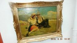 """Glatz Oszkár """"Dél időben"""" c. alkotás,60x80-s olajvászon eredeti blondelkeretében."""