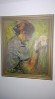 Holló László - Női portré, olajfestmény