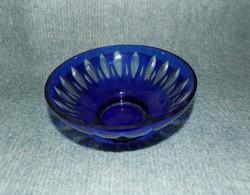 Kék kristály üveg kínáló tál asztalközép (fp)