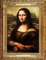 Leonardo da Vinci: MONA LISA 90 cm-es NAGY EXKLUZÍV OLAJFESTMÉNY, LUXUS ANTIK ARANY KERET