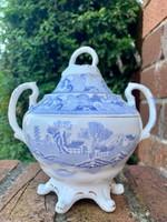 Antik angol cukortartó bonbonier Willow Broseley kék minta