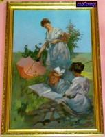Felolvasás a réten, impresszionista festmény, Bokor Károly festőművész alkotása