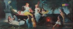 Leányálom, romantikus jelenet, nimfákkal, olaj-vászon festmény, Sasváry szignóval