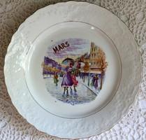 """St. Amand francia fajansz tányér """"Május"""", jelenetes"""