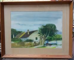 Szalóky Sándor akvarell - Tihanyi ház