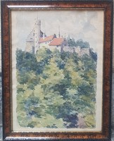 Haeffner Jenő-  Vár c.akvarellje
