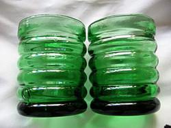 Skandináv uránzöld mécsestartó retro  pohár pár