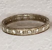 Régi Fehér Arany 585 vésett karika gyűrű bril gyémánt 0,50 ct 59 meret