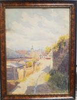 Haeffner Jenő Tabátn Holdvilág utca  c.akvarellje