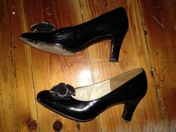 38? Fekete lakk alkalmi női cipő, Jenners Edinburgh magas sarkú lábbeli