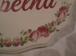 Fa tábla - rózsamintás - festett - szlovák nyelvű - FÜRDŐSZOBA - felirat 16 x 11 x 1 cm - hibátlan