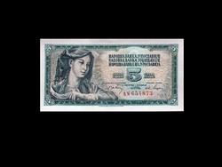 UNC - 5 DINÁR - JUGOSZLÁVIA 1968 !!! (Old Money)