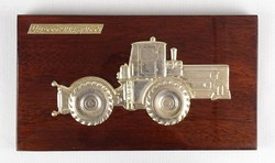 0X350 Orosz traktor fém plakett 13 x 23 cm