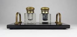0X897 Régi art deco fekete üveg kalamáris